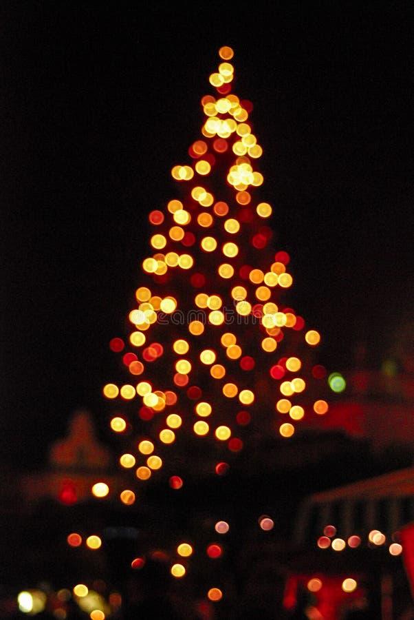 Bokeh of christmas tree lights at a Christmas market in Germany. Bokeh of christmas tree lights stock photo