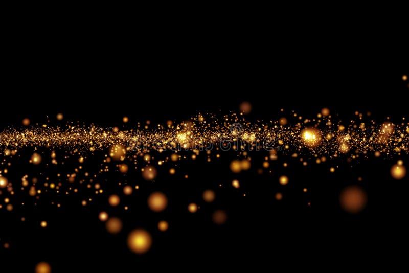 Bokeh claro dourado das partículas do brilho do Natal no fundo preto, feriado
