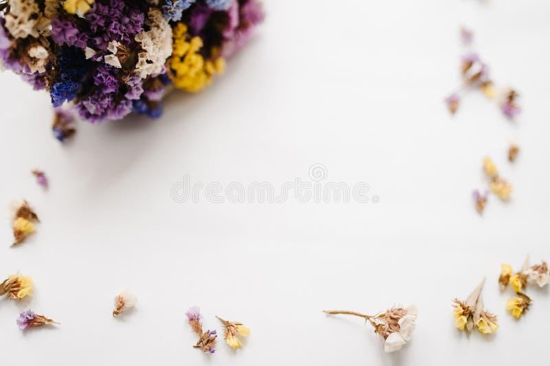 Bokeh coloré, foyer brouillé et sélectif Vue faite de fleurs colorées sèches sur un fond blanc Copiez l'espace Fleurs romantiques photos stock
