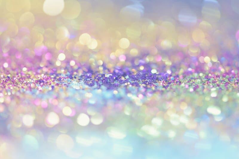 bokeh Colorfull弄脏了生日、周年、婚礼、除夕或者圣诞节的抽象背景 库存图片