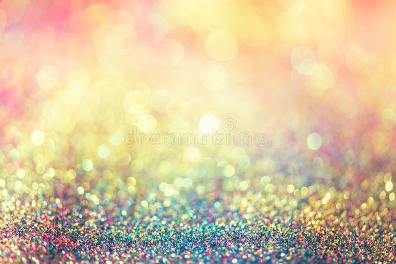Bokeh Colorfull золота яркого блеска запачкало абстрактную предпосылку для bir стоковое изображение rf