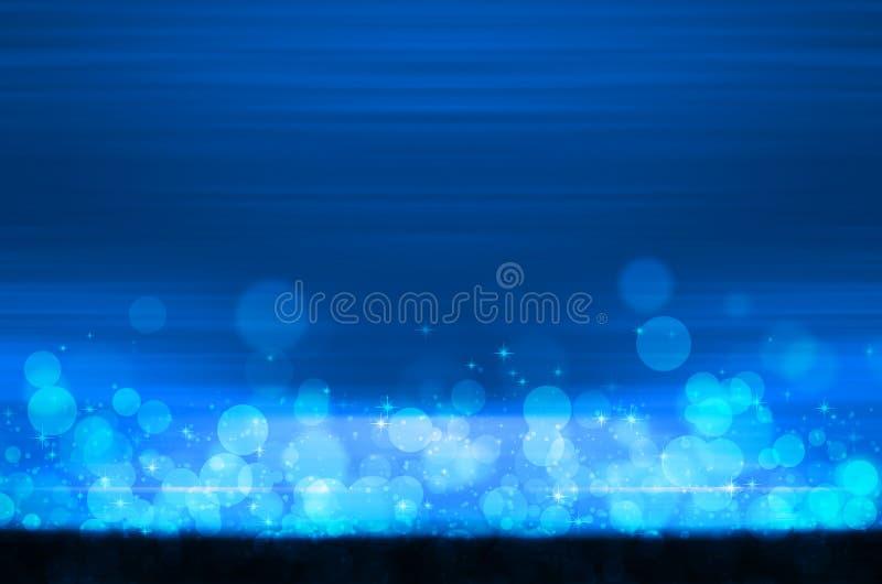 Bokeh colorido abstrato no fundo azul ilustração royalty free