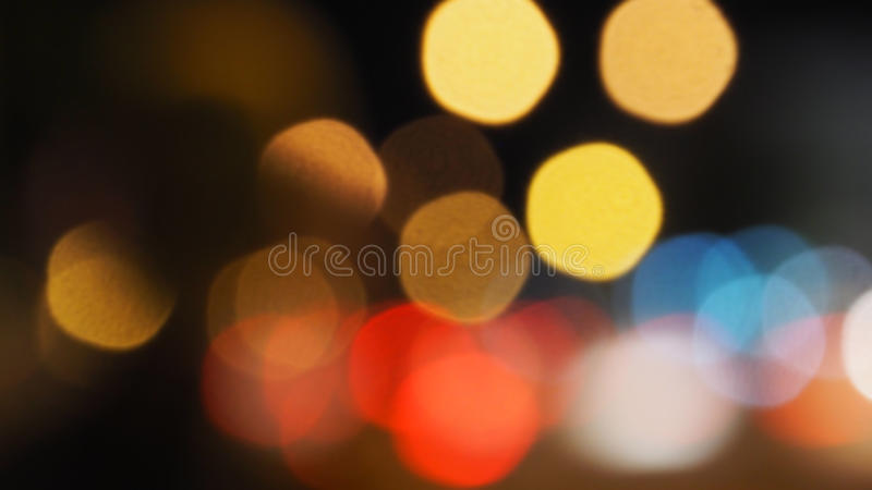 Bokeh Colors Blur Zoom. Yellow, red, blue, white colors in the night times are circle shape lighting royalty free stock image