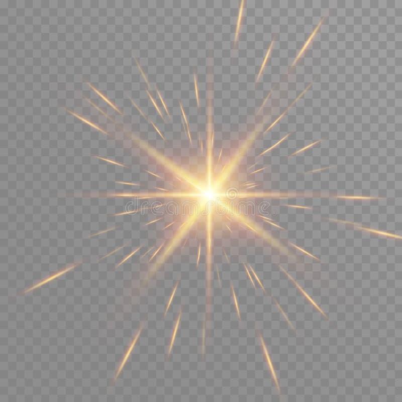 Bokeh de las partículas del resplandor del oro Efecto del brillo explosión con las chispas Brillos chispeantes de oro y estrellas ilustración del vector