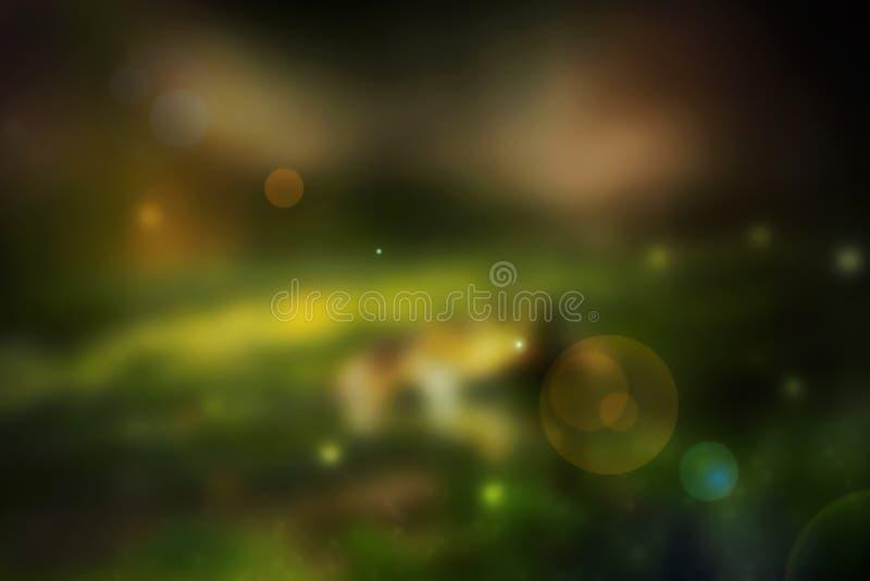 Bokeh de luces en el fondo negro - imagen stock de ilustración