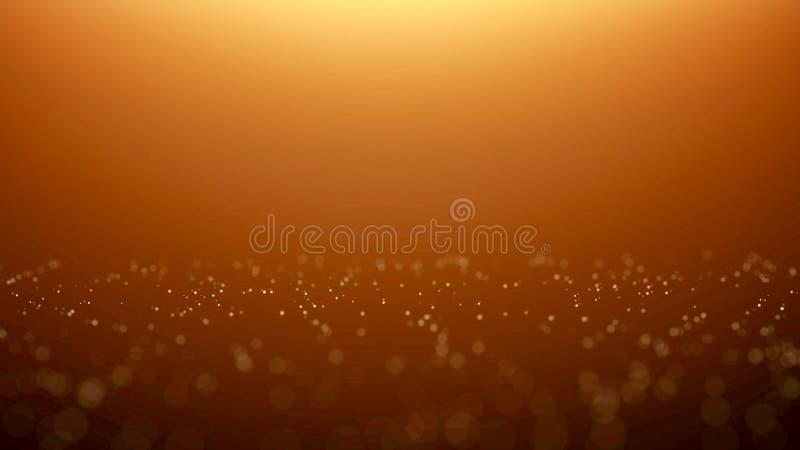 Bokeh de oro de la partícula con la luz caliente libre illustration