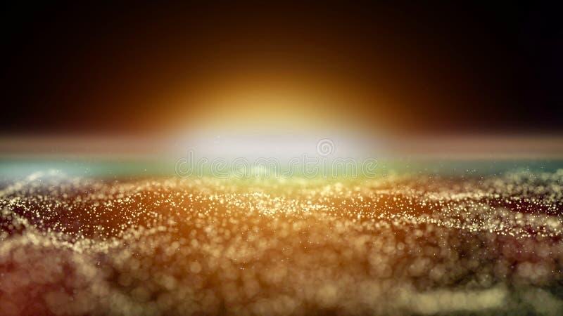 Bokeh de oro de la partícula con la luz caliente stock de ilustración