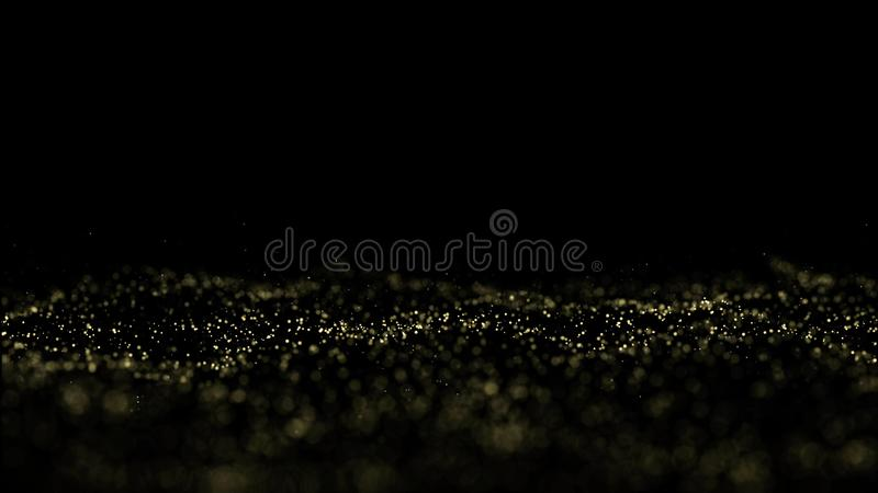 Bokeh de oro de la partícula, fondo de la onda de la partícula del ejemplo libre illustration