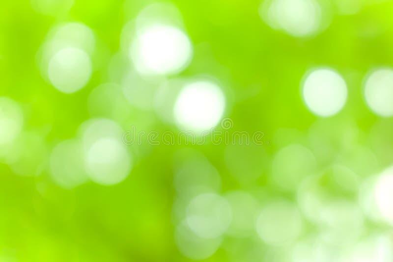 Bokeh de tache floue de lumière de nature et abrégé sur vert fond images libres de droits