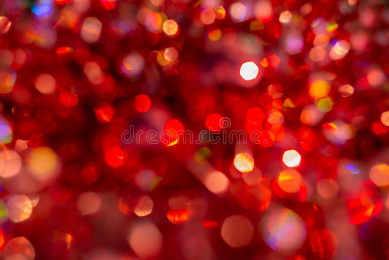 Bokeh de texture de tache floue de fond, violet, jaune, rose, six c?t?s, rond Fond rouge abstrait Defocused de No?l illustration stock