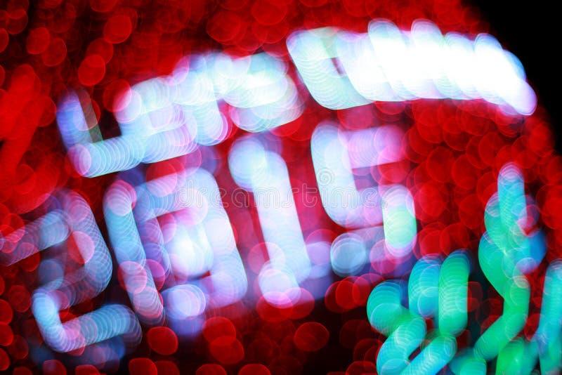 Bokeh Defocused de las luces (Año Nuevo 2015 de la celebración) imagen de archivo libre de regalías