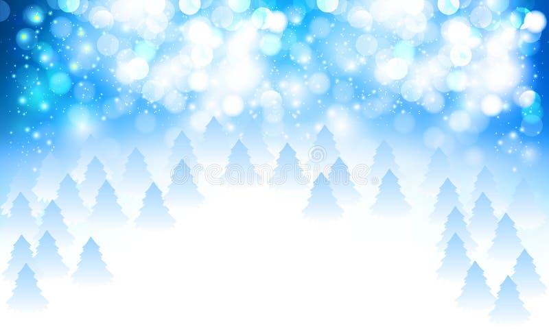 Bokeh del extracto y fondo nevosos azules blancos de los árboles de navidad ilustración del vector