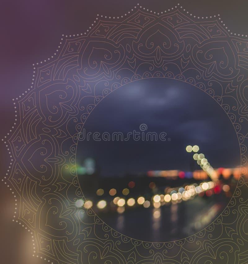 Bokeh della città con la mandala pacifica fotografie stock libere da diritti