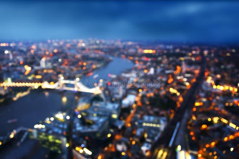 Bokeh della vista aerea di Londra con il ponte della torre, Regno Unito fotografie stock