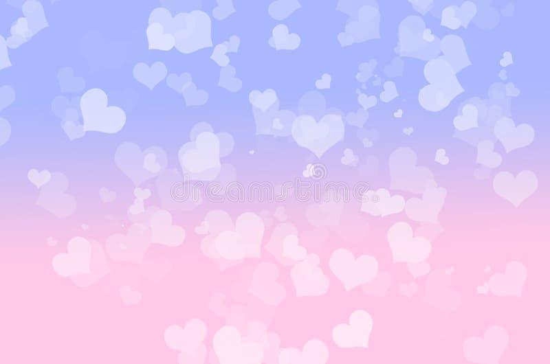Bokeh do coração azul e cor-de-rosa fotografia de stock