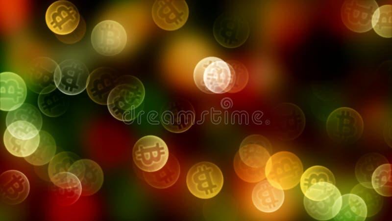 Bokeh do fundo do bitcoin das moedas na cor do ouro 3d imagem de stock royalty free