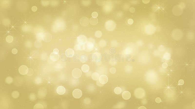 Bokeh do ouro e fundo festivo abstrato dos sparkles ilustração stock