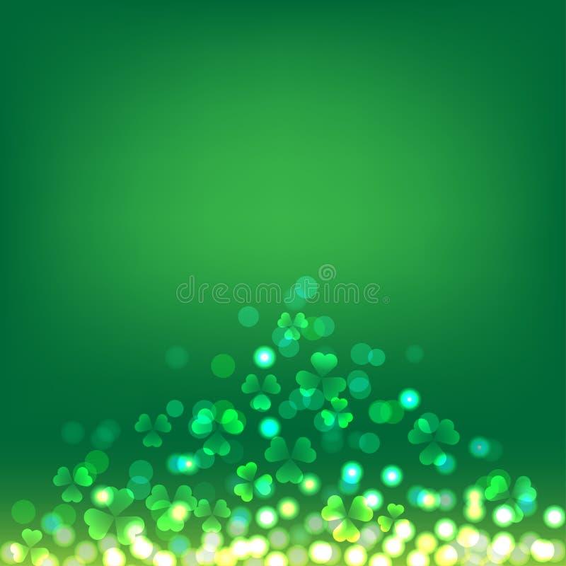 Bokeh do trevo no fundo verde para St Patrick Day ilustração royalty free