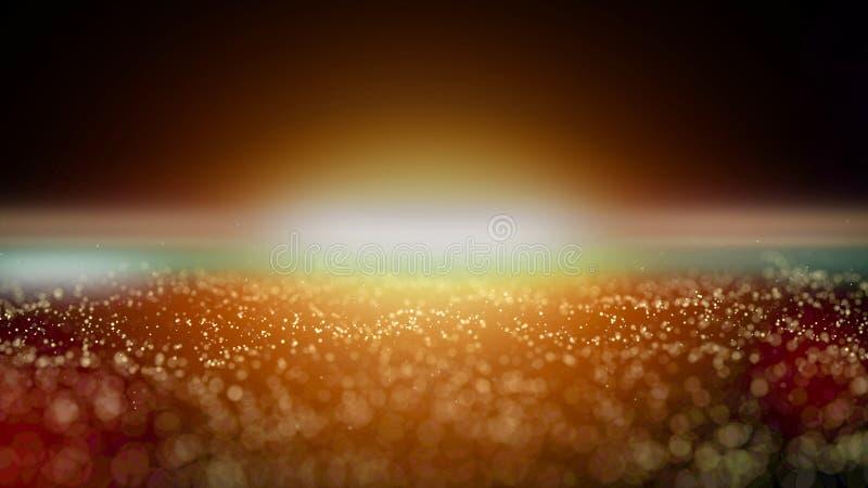 Bokeh dorato della particella con luce calda illustrazione di stock