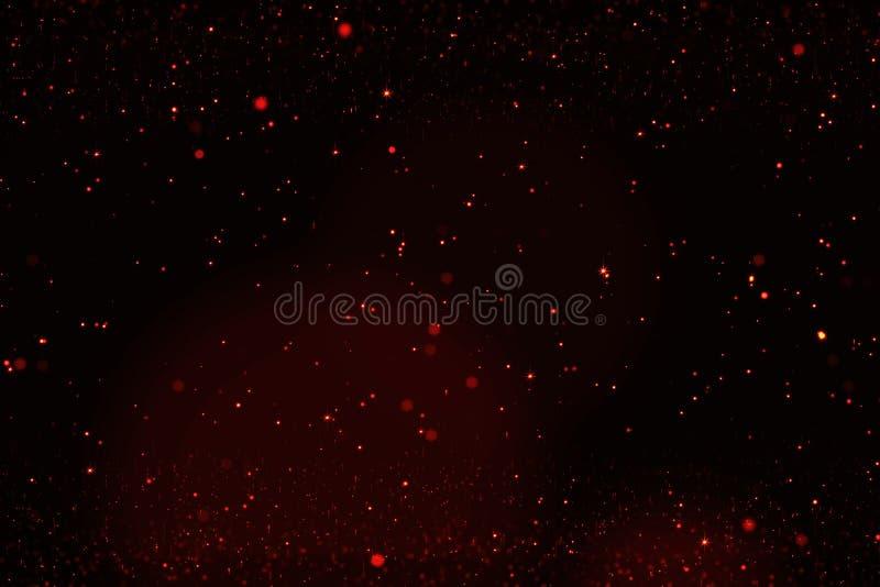 Bokeh dourado das partículas das bolhas da faísca do brilho no fundo preto, feriado festivo do ano novo feliz do evento ilustração stock