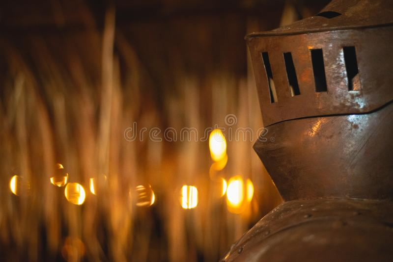 Bokeh and dry leaves are, iron man. Bokeh and dry leaves are iron man royalty free stock photography