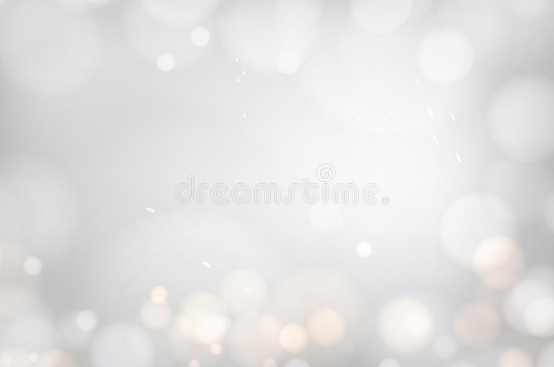 Bokeh of dust on white background. Abstract blur light effect. Falling confetti for carnival celebration. Glitter, light. Sparkle and shimmer confetti over gray vector illustration