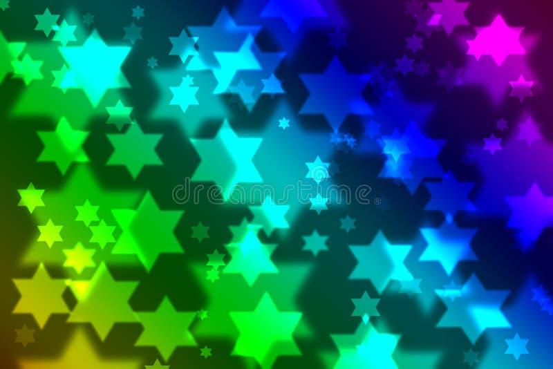 Bokeh ebreo della priorità bassa di celebrazione della stella illustrazione vettoriale