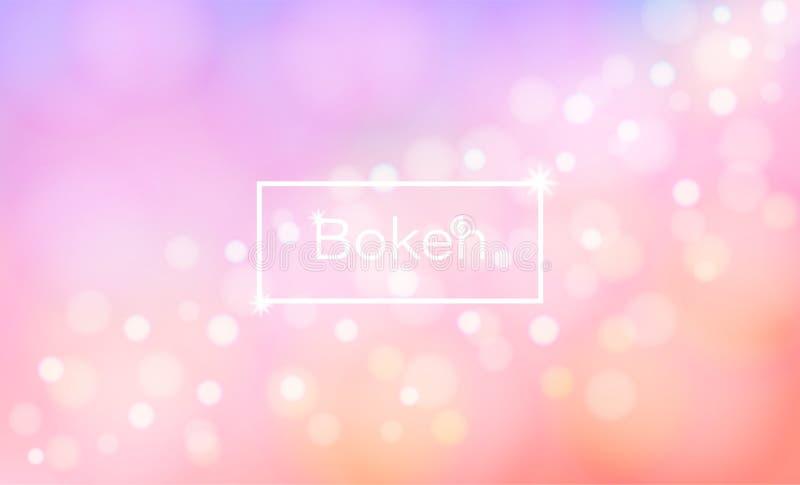Bokeh eso de lujo, y el fondo brillante y colorido del vector Y una falta de definición y colores en colores pastel hermosos stock de ilustración