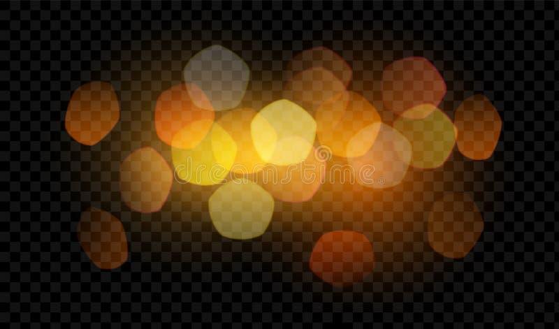 Bokeh et lumière d'isolement sur le fond transparent Illustration de vecteur illustration de vecteur