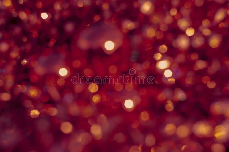 Bokeh för bakgrundssuddighetstextur, purpurfärgat, gult som är rosa, sex sidor, runda Defocused abstrakt r?d julbakgrund royaltyfri illustrationer
