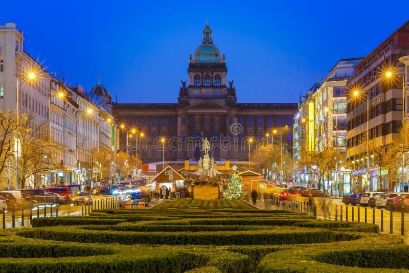 Bokeh fotografia Wenceslas kwadrat przy nocą, Praga, republika czech fotografia royalty free