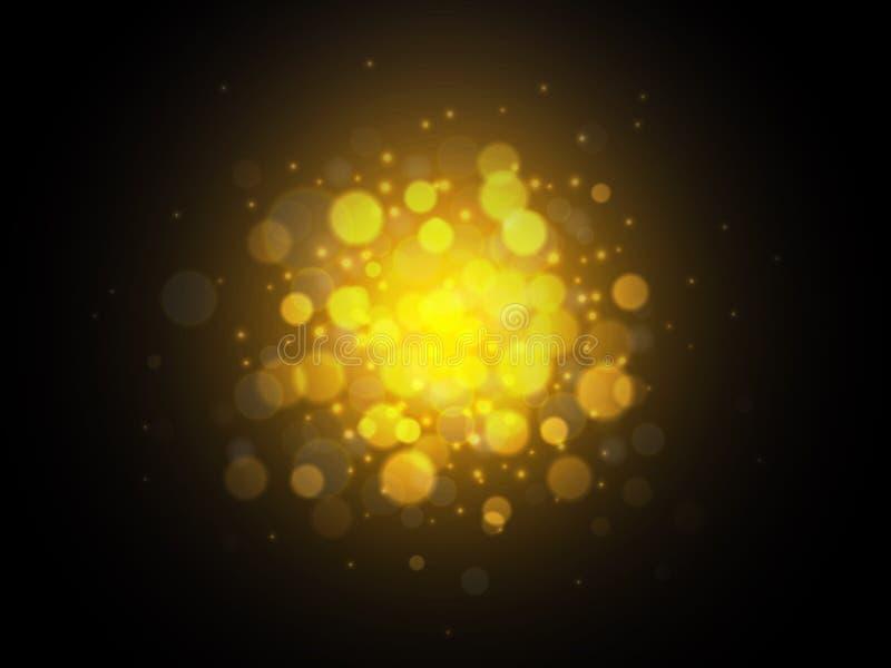 Bokeh guld- ljusbakgrund Julfilial och klockor också vektor för coreldrawillustration stock illustrationer