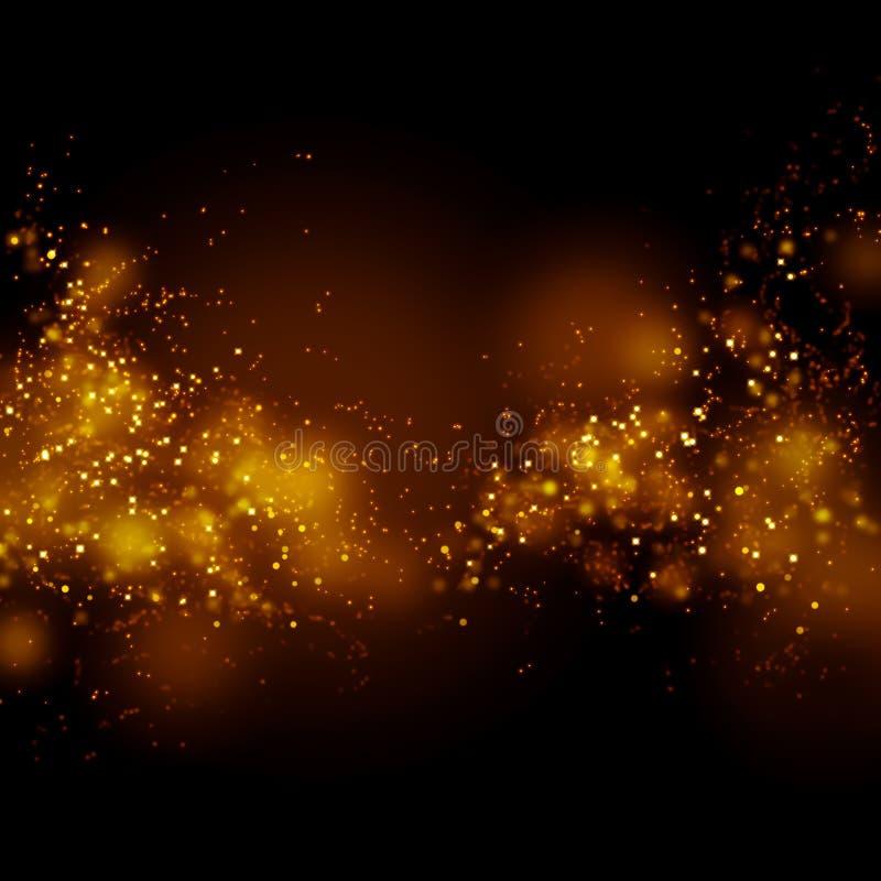 Bokeh guldstoft blänker stjärnabakgrund Abstrakt mjölkaktig väg stock illustrationer