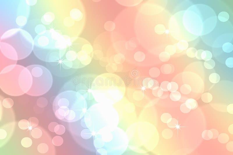 Bokeh i abstrakt bakgrund för regnbågelutningpastell stock illustrationer