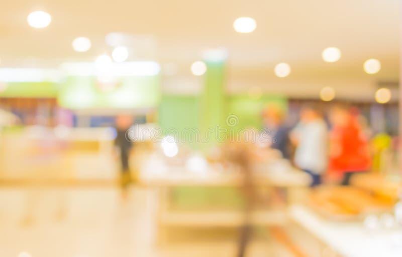 Bokeh of Interior of modern restaurant. Blurred shot Interior of modern restaurant stock photo