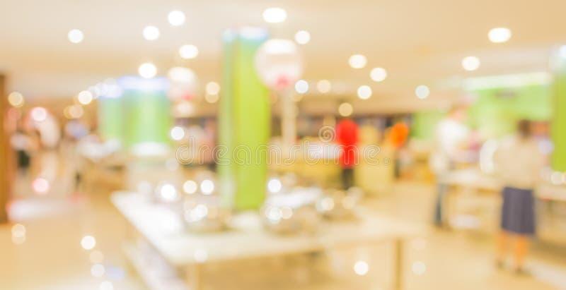 Bokeh of Interior of modern restaurant. Blurred shot Interior of modern restaurant stock images