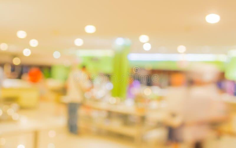 Bokeh of Interior of modern restaurant. Blurred shot Interior of modern restaurant stock image