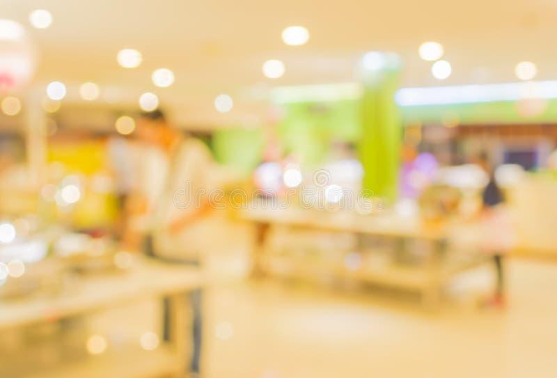 Bokeh of Interior of modern restaurant. Blurred shot Interior of modern restaurant royalty free stock image