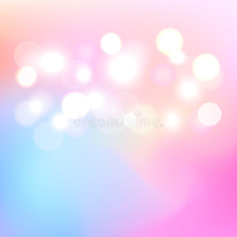 Bokeh kleurrijke lichte abstracte achtergrond Onscherp licht een achtergrond Vector Illustratie royalty-vrije stock afbeelding