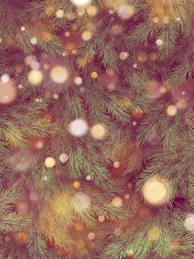Bokeh léger de tache floue de cru sur l'arbre de Noël, fond clair de bokeh ENV 10 illustration stock