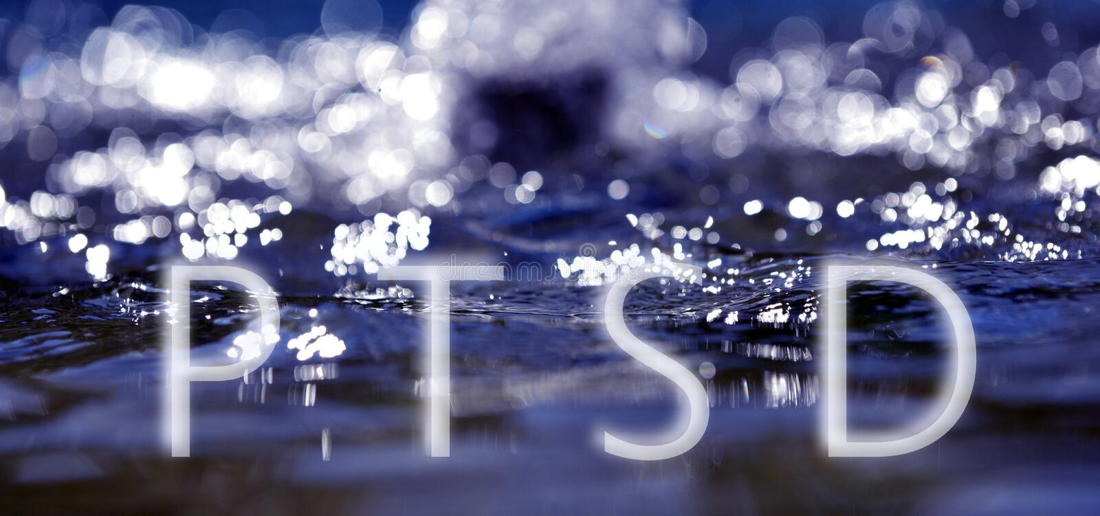 Bokeh light background in the pool with text ptsd royalty free stock image