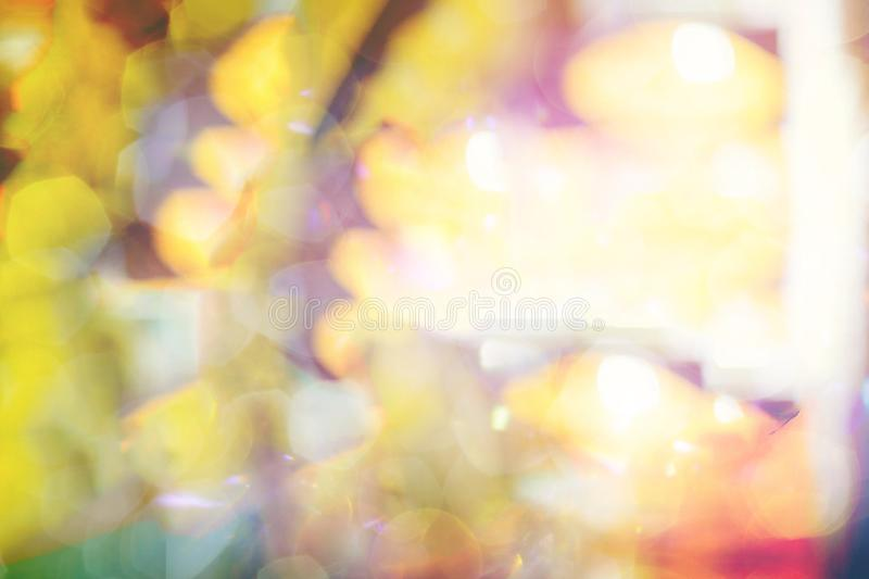 Bokeh light, shimmering blur spot lights. On multicolored abstract background stock photography