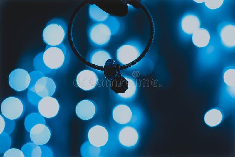 Bokeh lumineux des lumières bleues photo libre de droits