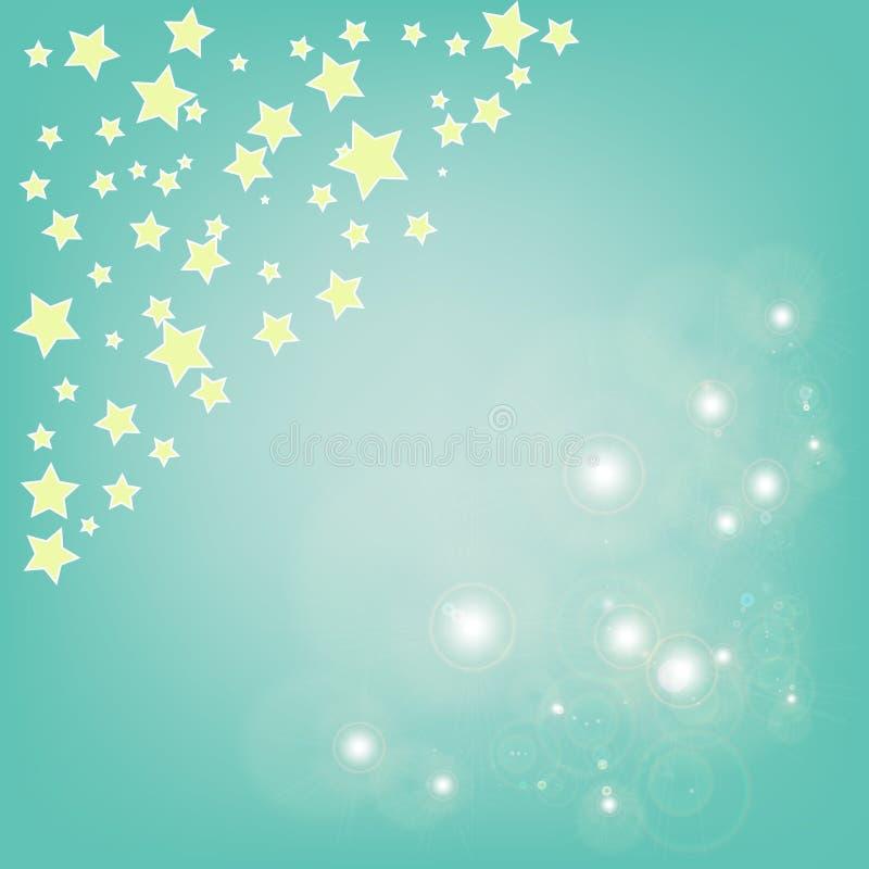 Bokeh magico astratto e stella gialla su fondo blu fotografia stock libera da diritti