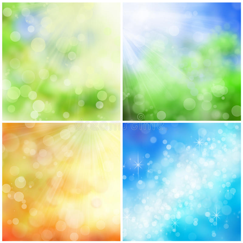 Bokeh nature backgrounds. Beautiful nature bokeh backgrounds for four seasons: spring, summer, fall, and winter royalty free stock image