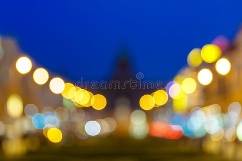 Bokeh photo of Wenceslas Square at night, Prague stock photos