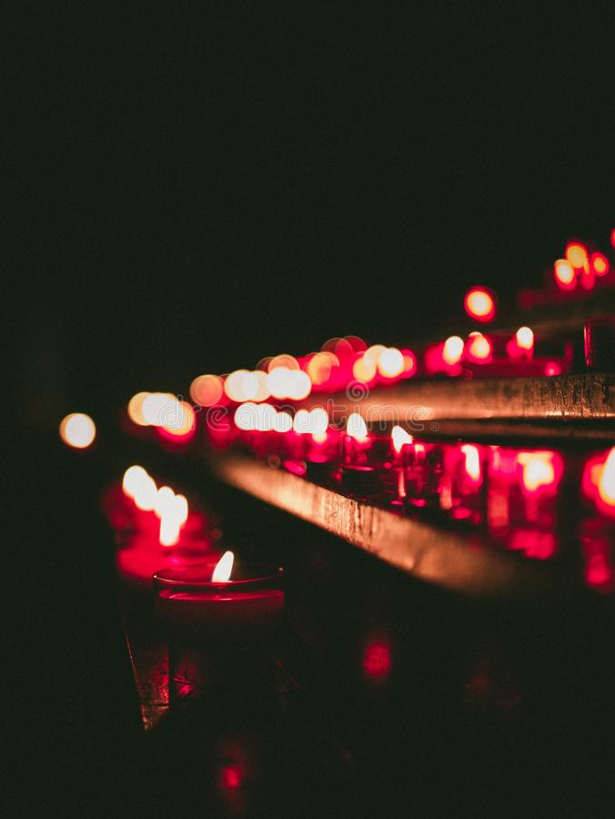 Bokeh Photography Of Lighted Candles royalty free stock images
