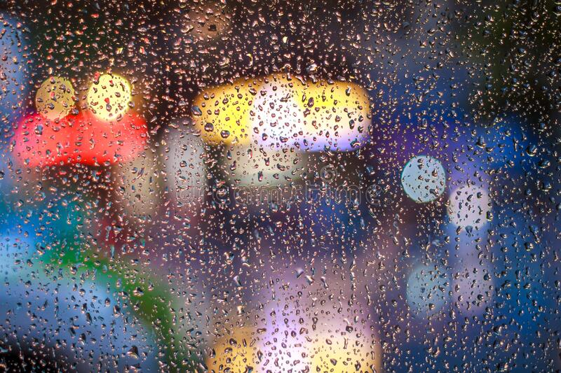 Bokeh with rain drops royalty free stock photography