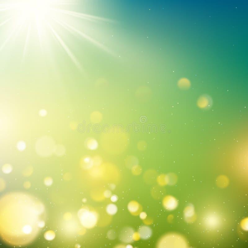 Bokeh realista del aire libre en tonos verdes y amarillos con los rayos del sol EPS 10 stock de ilustración