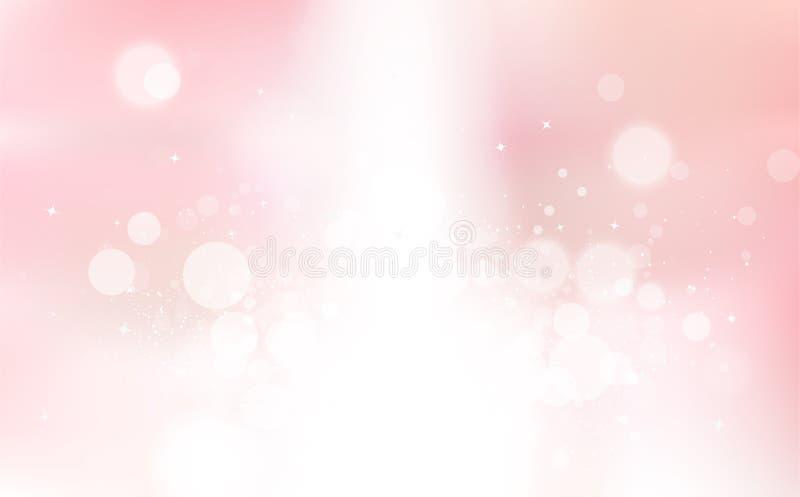 Bokeh rose, vacances de célébration de faisceau lumineux d'étoiles, coup de poussière de confettis, vecteur rougeoyant de fond d' illustration stock